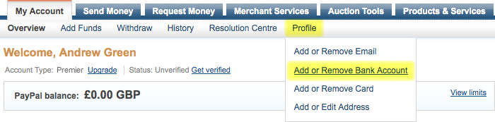 Screenshot of Profile menu on PayPal