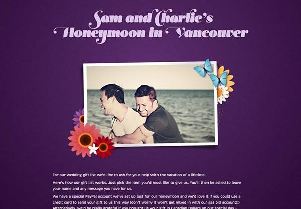 A sample honeymoon registry using the Flowerpower theme