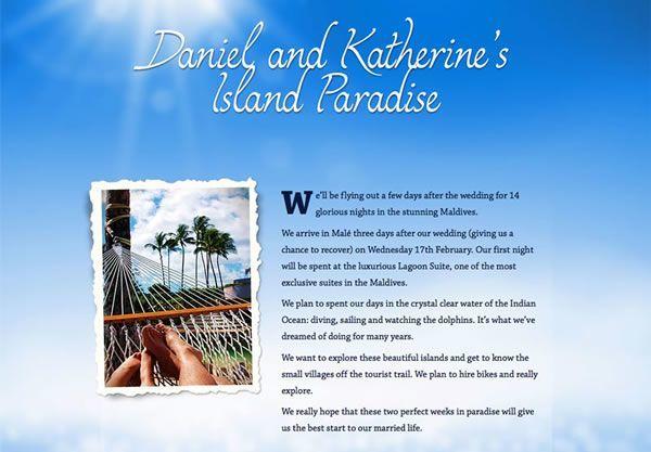 Wedding Gift List Honeymoon : ... wedding gift lists and honeymoon registries - Buy Our Honeymoon