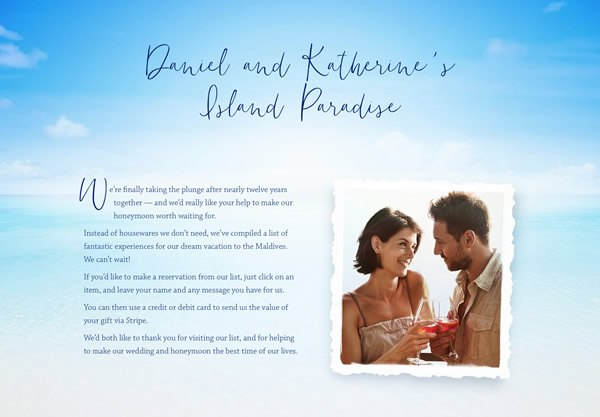 A sample honeymoon wedding list using the Paradise theme