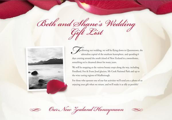 Example Of Wedding Gift List : Buy Our Honeymoon: Wedding Gift List and Honeymoon Fund