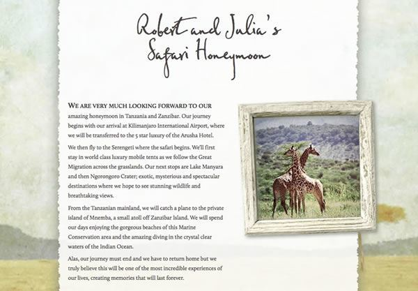 A sample wedding gift list using the Safari theme