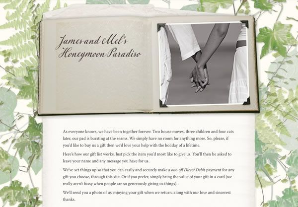A sample wedding gift list using the Scrapbook theme